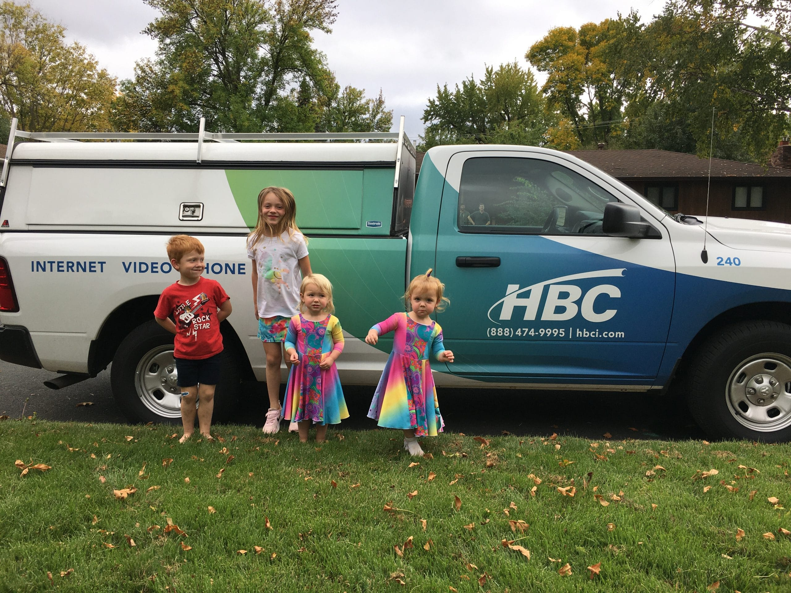The Ochs' kids with the HBC truck.