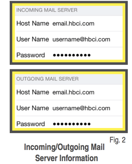 iPhone® Settings for HBC Email